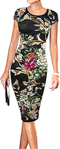 Plaid Print Floral - LunaJany Women's Floral Print Sexy Wear to Work Office Career Sheath Midi Dress XL black0604