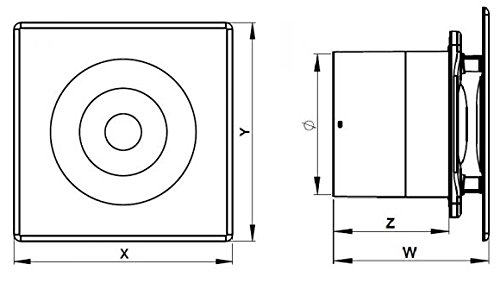 PTG Frontplatte aus Glas Wei/ß Wand-Ventilator Bad-L/üfter /Ø 100 Kugellager K/üche Silent Standard System