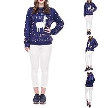 HsgbvictS Men Women Christmas Cartoon Alpaca Long Sleeve O-Neck Sweatshirt Pullover Top - 2# M