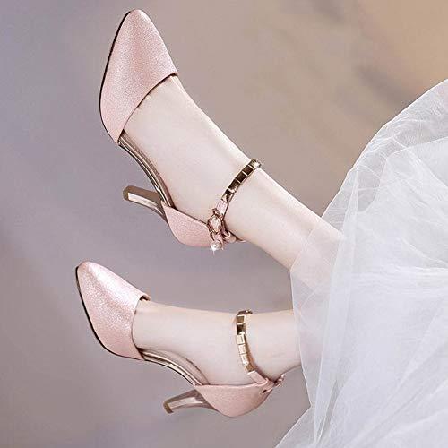 Tenthree Donna Partito Nero Alto Matrimonio Scarpe Frizzante Tacco Chiusa Caviglia A Pelle Cinturino Elegante Punta Spillo In Alla Décolleté Danza SSwZrY