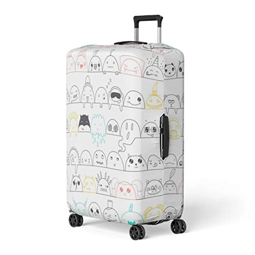 Pinbeam Luggage Cover Colorful Cute Kawaii Faces Funny in Cartoon Pink Travel Suitcase Cover Protector Baggage Case Fits 22-24 inches ()