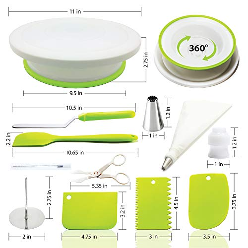 Cake Decorating Supplies Kit with Cake Turntable - Baking kit - Silicone Offset Spatula - Pastry Bags - Icing Tips - Cupcake Decorating Kit with Easy Nozzle Set - Professional Tools for Beginners by Happy Hour Bake (Image #1)