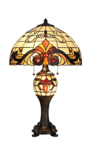 Niloah NH16204 Tiffany Style Table Lamp 16-Inch Shade with Lighted Base (Metal Shades Tiffany Style)
