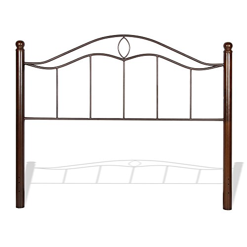 Cassidy Metal Headboard Panel with Dark Walnut Wood Posts, Mink Finish, California King (Allen Wesley Set Bed)