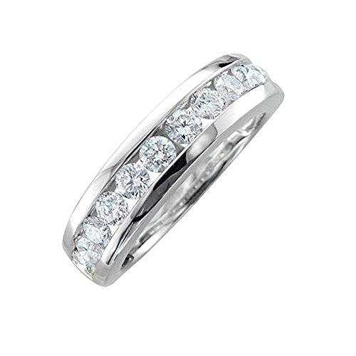 - 14K White Gold Diamond Wedding/Anniversary Channel Set Ring Band (1.00 Carat)