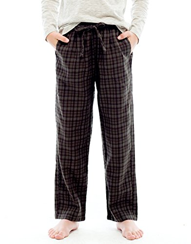 TINFL Big Boys Soft 100% Cotton Flannel Winter Lounge Pants FBP-49-Darkbrown-YL (Boys Brushed Cotton Pants)