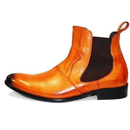 PeppeShoes Modello Chandro - Handmade Italiano da Uomo in Pelle Arancia Stivali di Chelsea - Vacchetta Pelle Verniciata a Mano - Scivolare su
