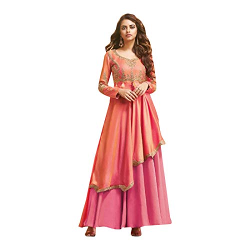 Designer Girls Long Kurti Tunic Gown Satin Dress Eevening Cocktail Party Women Upto 44 Size 8075 (Shaded Pink)