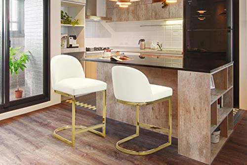Iconic Home FCS9482-AN Xander Counter Stool Chair PU Leather Upholstered Armless Design Half-Moon Gold Plated Solid Metal U-Shaped Base Modern Contemporary, Cream