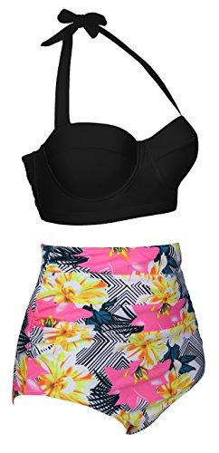 EasyMy Vintage Acanaló el Bikini del Bañador de Alta Cintura Nergo-2