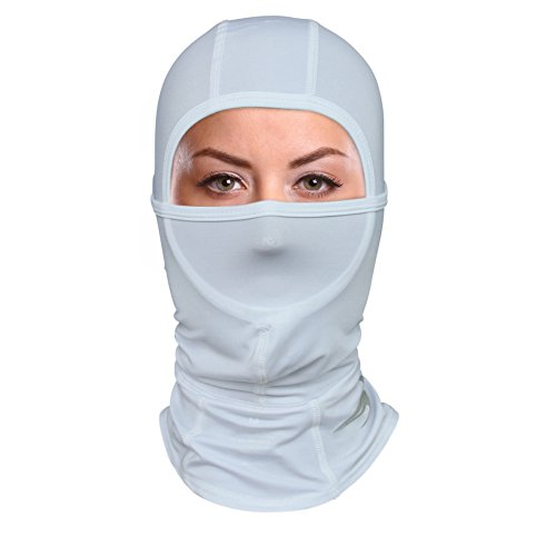 Balaclava Compression Face Mask (White - M) Best Wind, Cold & UV Protection for Men/ Women (White Face)