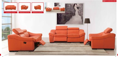 (ESF Modern 8021 Full Orange Italian Leather Sofa Set W/recliners)