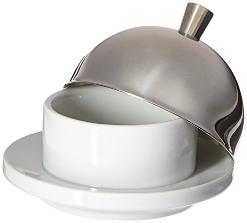 Paderno World Cuisine Porcelain Butter Cup with Stainless Steel Dome, 3-5/8-Inch, ()