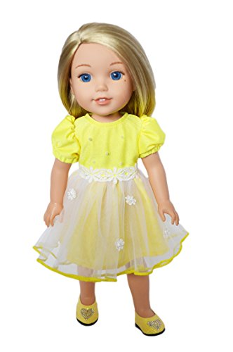 Brittany's My Easter Yellow Dress Compatible with Wellie Wisher Dolls-Glitter Girl Dolls- Hearts to Hearts Dolls- 14 Inch Doll - Doll Heart Shoes Yellow