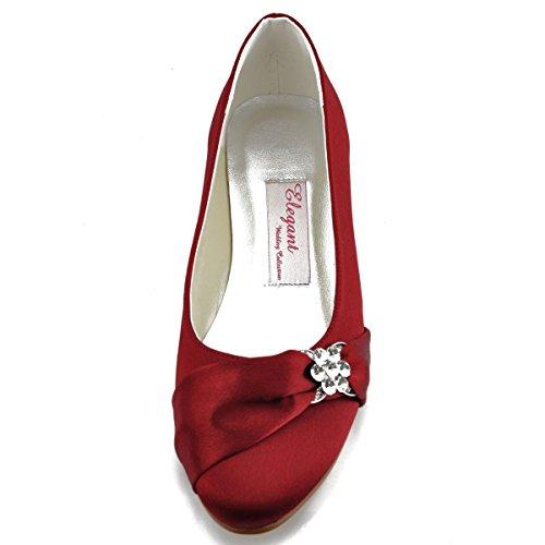 Satin de Plates Glitte Mariage Ferme Bout Femme Arc Bourgogne Elegantpark Chaussures EP2006 5nxqXY4xz