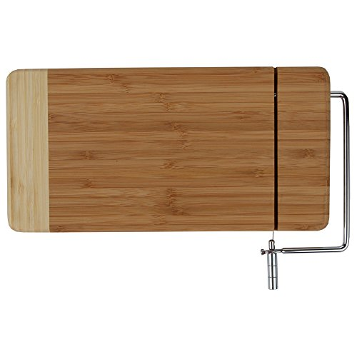 - Home-X - Bamboo Cheese Cutting Board with Stainless Steel Wire Cheese Slicer, The Ultimate Two-In-One Kitchenware Appliance with Little to No Mess
