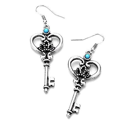 Antiqued Silver Key Drop Earrings with Turquoise Detail - Lucky Turquoise Earrings