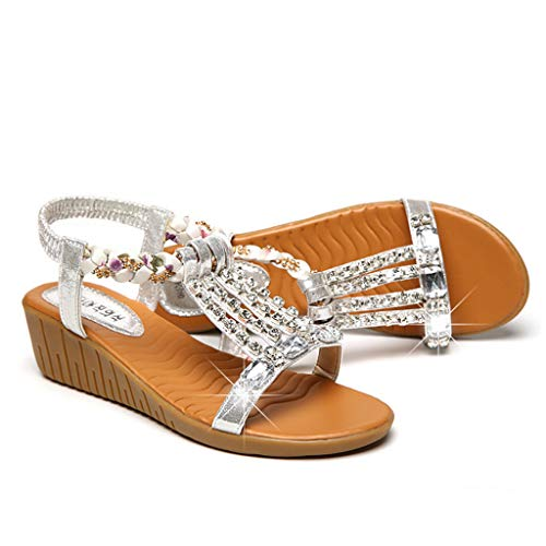Thenxin Women's Summer Crystal Bling Wedges Ladies Bohemia Beach Shoes Roman Sandals (Silver,4.5 US)
