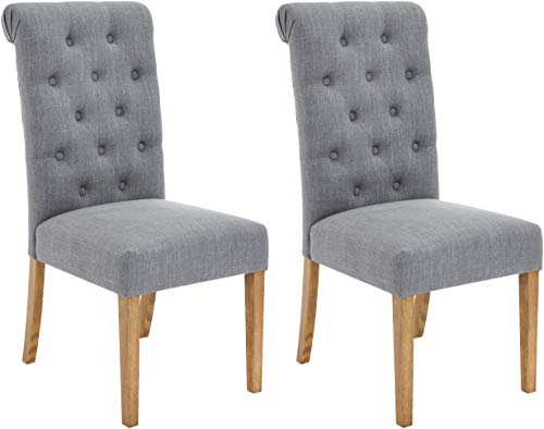 Red Hook Serena Solid-Wood Tufted Upholstered Armless Dining Chair - Set of 2, Cosmopolitan Grey (Dining Chairs Upholstered Tufted)