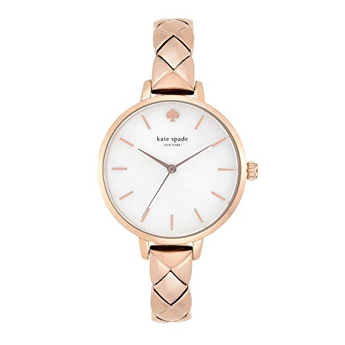 (kate spade new york Women's Metro Analog-Quartz Watch with Stainless-Steel-Plated Strap, Pink, 10 (Model: KSW1466))