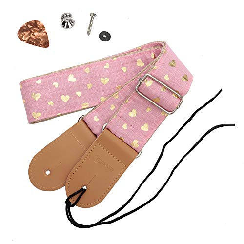 HOT SEAL Cute Printed Adjustable Genuine Leather Metal Hook Guitar Strap Bass Universal Strong Back Straps (Heart-shaped pink) (Strong Guitar Strap)