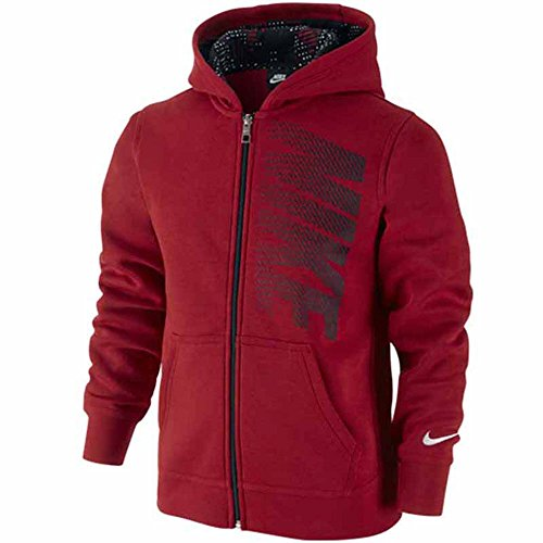 Nike Boys Fleece Graphic FZ Hoodie Red / Black 679169 (Graphic Fleece Hoody)