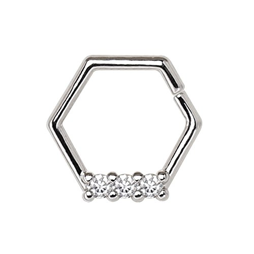 316L Stainless Steel Multi Jeweled Hexagon WildKlass Captive Bead Ring/Cartilage Earring ()
