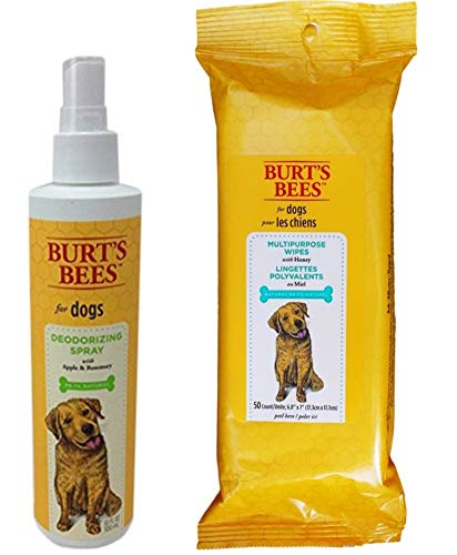 Burt's Bees for Dogs Deodorizing Spray with Apple & Rosemary and Multipurpose Wipes Grooming Bundle, 1 Each