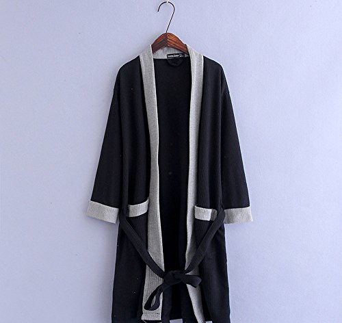 cotone dell'hotel bagno della cinghia della del estate di del cinghia da pigiama kimono vestaglia donne della Nero vestaglia Asciugamano dell'abito delle del dell'abito della q8EUwxx5