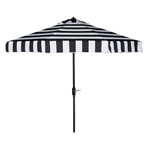 Safavieh PAT8003A Outdoor Collection Elsa Fashion Line Auto Tilt Umbrella, 9′, Black/White