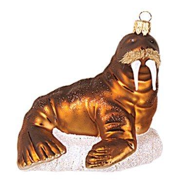 Walrus Polish Glass Christmas Ornament Decoration Animal Sealife (Christmas Glass Animal Ornaments)