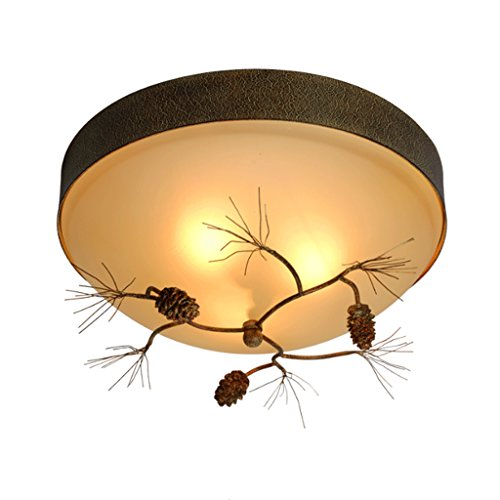 American Country Balcony Corridor Ceiling Lights, Modern Simple Pinecones Fashion Dining Room Ceiling Lights, Round Creative Bedroom Lamps (Size : M-30cm)