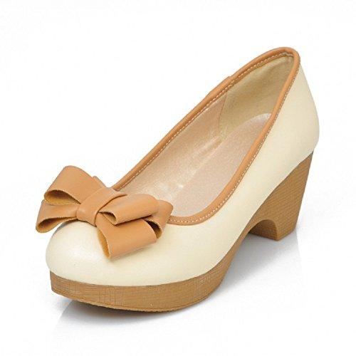Carol Zapatos Bows Mujeres Mid Heel Pumps Zapatos Beige