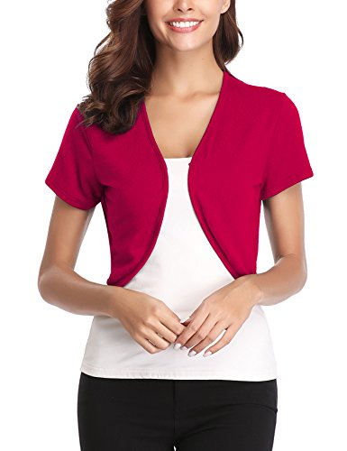 Bolero Jacket Red - Abollria Women Short Sleeve Bolero Shrug Light Knit Cropped Cardigan Open Front Thin Jacket (Watermelon Red,XXL)