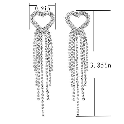 THBRO Crystal Long Chandelier Tassel Pendant Earrings Heart-Shaped Sling Rhinestone Female Jewelry Party Wedding Diamond Earrings Ladies Gift (Silver)