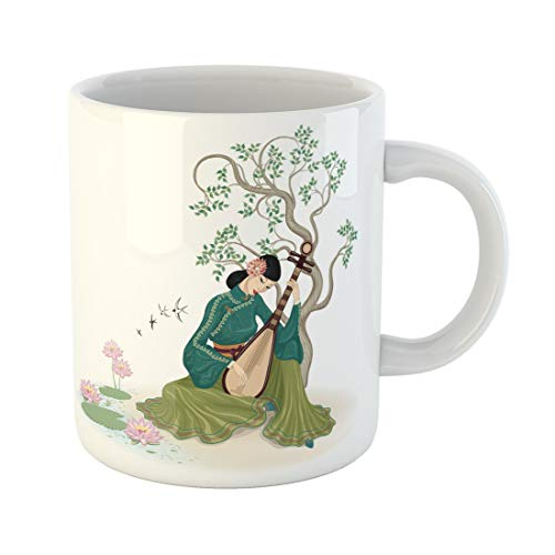 Semtomn Funny Coffee Mug Beautiful Chinese Woman Sitting and Playing the Traditional Musical Instrument 11 Oz Ceramic Coffee Mugs Tea Cup Best Gift Or Souvenir]()
