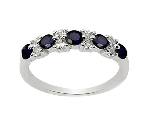 Lab Created Blue and White Sapphire Ring Band in Rhodium Plated Sterling Silver (Lab Created Sapphire Ring)