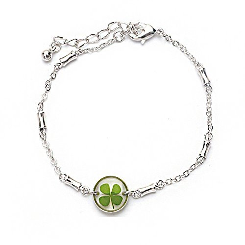 4 Leaf Clover Bracelet (Stainless Steel Real Irish Four Leaf Clover Good Luck Symbol Clear Round Charm Bracelet 7''-8.5'')