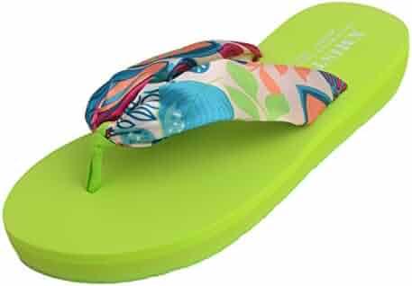 e2b577ae8249 Women s Bohemian Satin Flip-Flop Thick Sole Summer Beach Casual Slippers