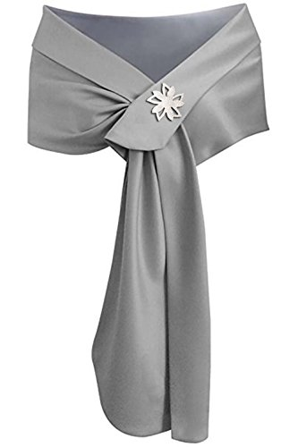Meet Edge Women's Satin Shawl Wrap for Evening/Wedding Party (Silver Gray Band Brooch)