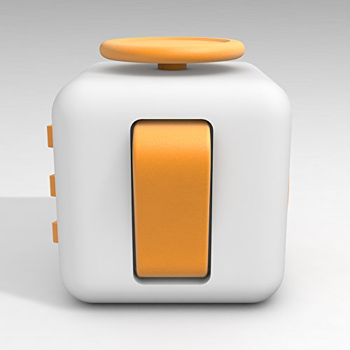 D-JOY Cube Fidget Toy Cube Relieves Stress and Anxiety Attention Toy for Work, Class, Home (White Yellow) Photo #3
