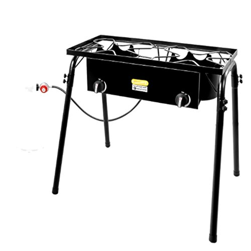 Two Burner Propane Stove Gas Cooktop Portable Double Outdoor Cooker, Black Propane Burner with Legs & E-Book (Port Heater Propane)