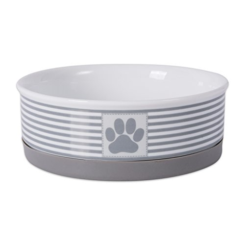 Bone Dry DII Paw Patch & Stripes Ceramic Pet Bowl for Food & Water with Non-Skid Silicone Rim for Dogs and Cats (Medium - 6
