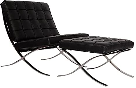 Terrific Mlf Pavilion Chair Ottoman Italian Leather High Density Foam Cushions Seamless Visible Corners Polished Stainless Steel Frame Riveted With Gmtry Best Dining Table And Chair Ideas Images Gmtryco