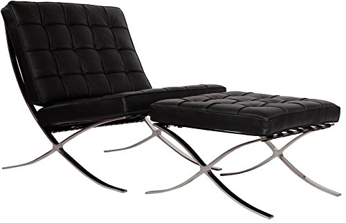MLF Pavilion Chair & Ottoman. Italian Leather, High Density Foam Cushions & Seamless Visible Corners. Polished Stainless Steel Frame Riveted with Cowhide Saddle Straps.(Black)