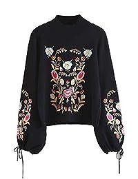 SheIn suéter de Manga Larga con diseño Floral Bordado para Mujer