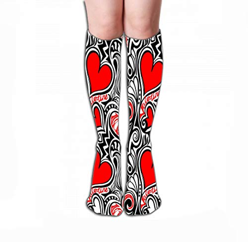 Xunulyn Print Women's Knee High Socks Athletic Over-The-Calf Tube 19.7