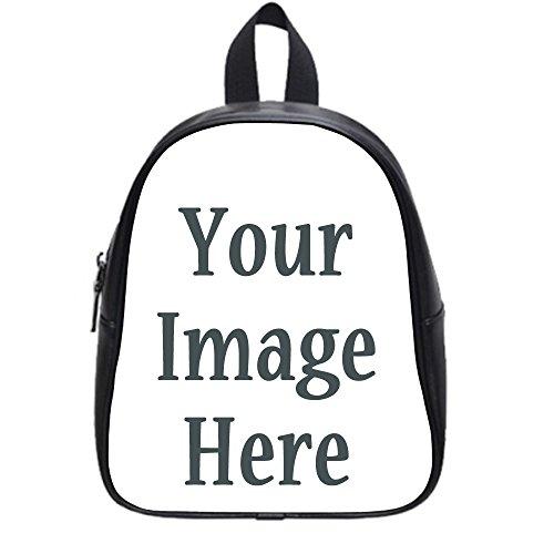 Photo Or Text Image DIY Custom Backpack School PU Leather Bag Black