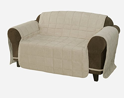 Sand Loveseat (Chezmoi Collection Quilted Micro Suede Pet Furniture Protector Slip Cover Throw with Ties (Sand,)