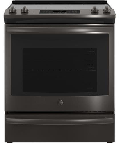 GE 5.3 Cu. Ft. Slide-In Electric Convection Range Black stainless steel JS760BLTS